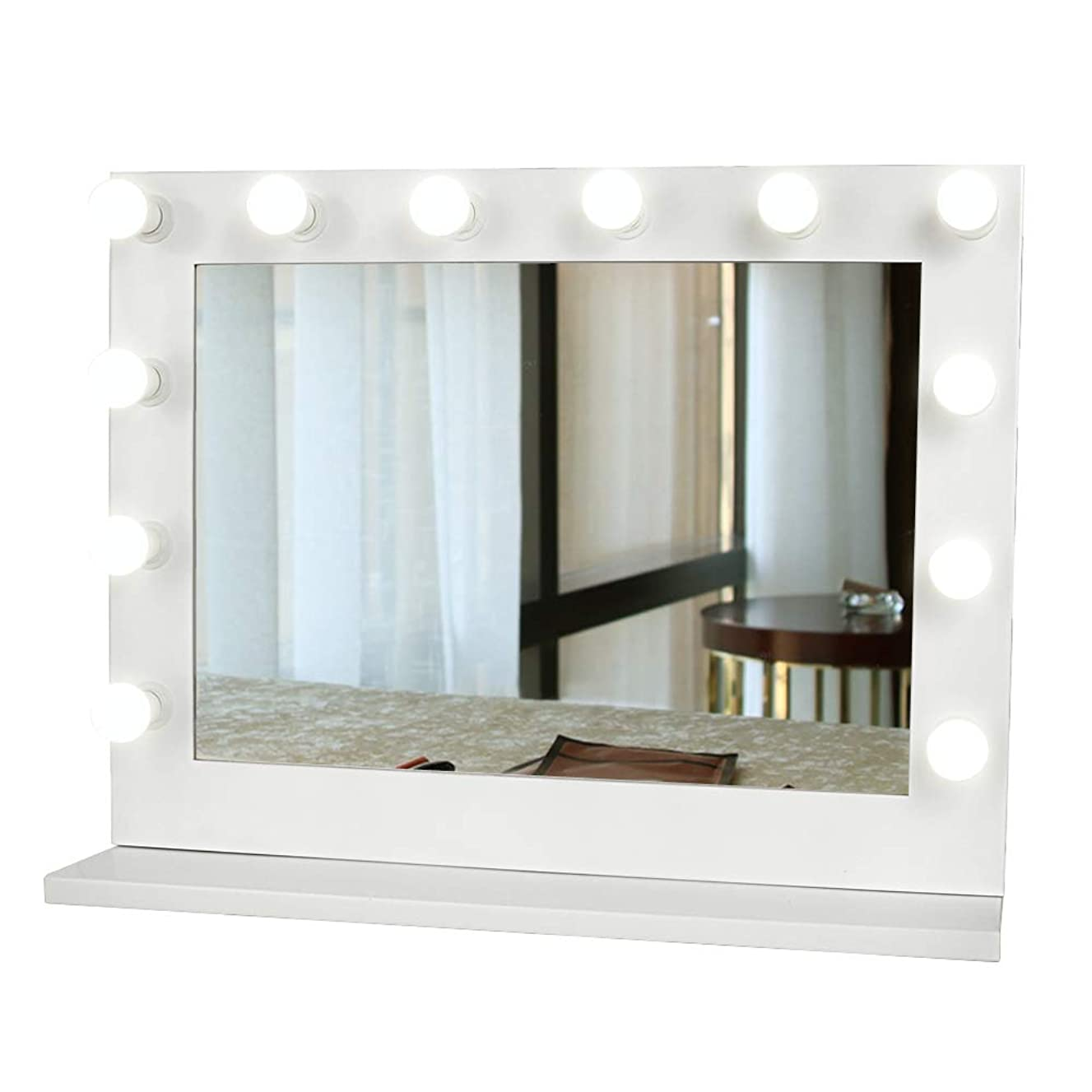 GURUN Hollywood Vanity Mirror with Light, Tabletop Makeup Mirror Lighted Vanity Glamour Mirror w/Dimmer, 12 LED Bulbs Included