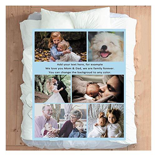 Haisimiery Manta de forro polar personalizada con foto personalizada, regalo de cumpleaños o boda para adulto bebé mascota 6 fotos NO.01 (Queen 60 x 85 pulgadas) (150 x 220 cm)