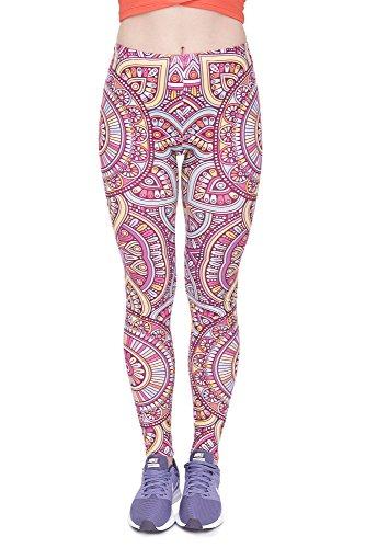Leggings Fullprint Dames Legging Print Kleurrijke Workout Kleurrijke Volledig bedrukt Ondoorzichtige broek Gym Fitness Sport Yoga Stretch Mandala Rood
