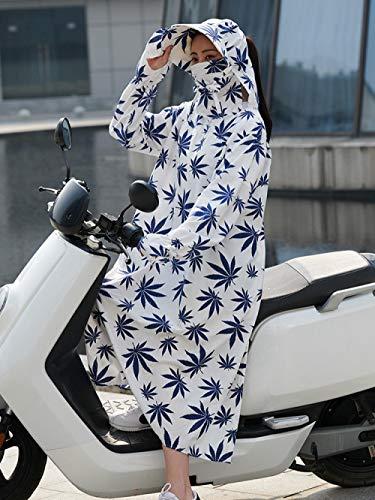 123 Elektrische fiets motorfiets zonnebescherming kleding katoen vrouwelijke zomer full body lange UV-bestendige donkerblauwe bladeren