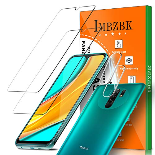IMBZBK [4 Pack] 2 Pack Protector Pantalla para Xiaomi Redmi 9 Cristal Templado + 2 Pack Protector de Lente de Cámara Xiaomi Redmi 9 Protector cámara, [Case Friendly] [Alta Definicion]