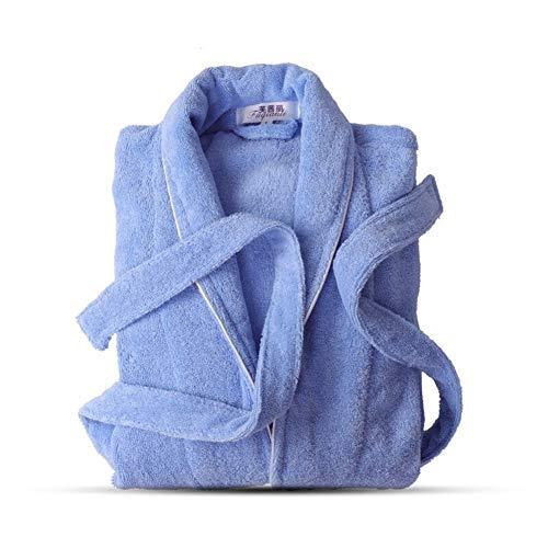 DER Komfort und Freizeit Baumwolle Handtuch Eindickung Bademantel Männer und Frauen Paar Morgenmantel Cotton Bademantel zum Baden nach Hause (Color : Blue, Size : XL)