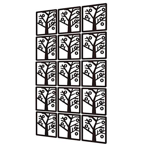 Biombo Divisor de 15 Piezas - 88x147cm - Negro Room Divider Árbol del Dinero Paneles Separador De Ambientes para Cocina, Despensa, Escritorio, Estantería, Armario