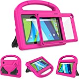 AVAWO Kids Case for RCA Voyager 7 Tablet, RCA Voyager 7 inch Tablet case - with Built-in Screen Protector - Shockproof Light Weight Stand Case for 7inch RCA Voyager I/II/III/Pro Android Tablet, Rose