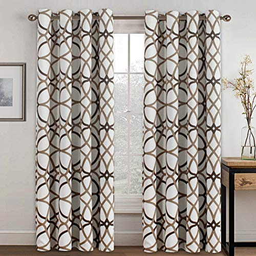 Blackout Curtains 96 Inches Long for Bedroom - Thermal Insulated Grommet Room Darkening Curtains/Panels/Drapes for Living Room/Patio, Sound Proof and Soft, Taupe and Brown Geo Pattern