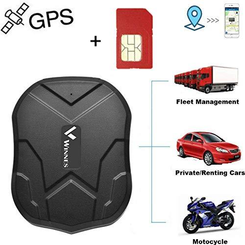 Winnes GPS Tracker mit SIM-Karte, Starker magnetischer GPS Tracker Lange Standby-Zeit Fahrzeugortung wasserdichte Echtzeit-Ortung Anti-Lost Locator mit kostenloser App TK905