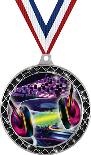 Best Prices! DJ Turn Tables Black Trellis Medal Silver, 2.5 DJ Music Prizes, Kids DJ Trophy Medal A...