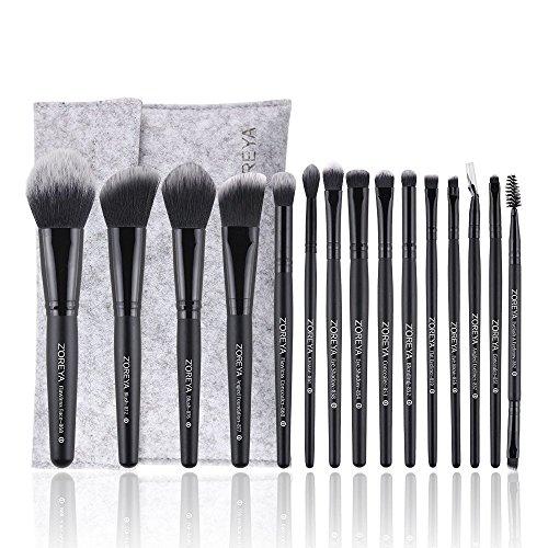 15 Pcs Fiber Maquillage Brosses Et Outils Set avec Blanche-Neige Astuce Cheveux Et Poignée en Bois comme Visage Maquillage Brosse Pro Set avec Un Sac Cosmétique Felt Felt