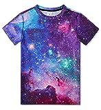 Idgreatim Kinder Teenager Junge Mädchen 3D Print Kurzarm T-Shirt Kleidung Outfit Galaxy Pullover Tees 10-12 Jahre