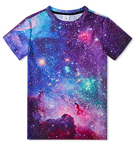 uideazone Jungen Mädchen Bunt T-Shirt 3D Druckte Galaxis T Shirt Kinderjugend Kurzarm T-Shirts 6-16 Jahre