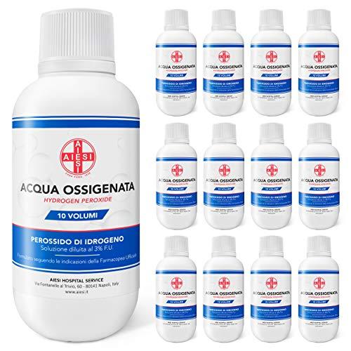AIESI® Agua Oxigenada desinfectante Ph.Eur. 3% 10 volúmenes con tapa de seguridad para niños 250 ml (Paquete de 12 piezas) # Made in Italy