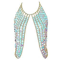 Blue Shoulder Necklaces Bra Party Wear