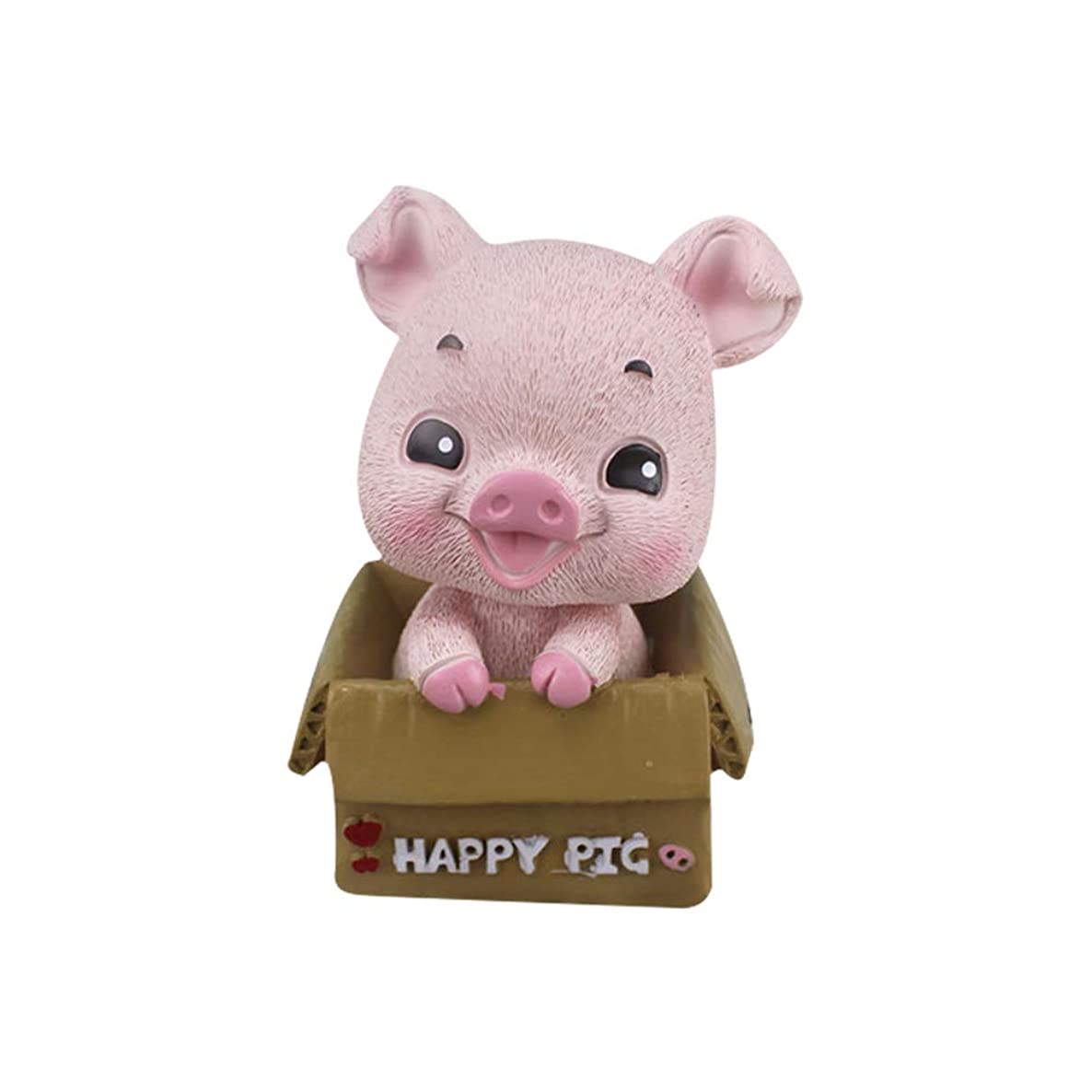 1pc Resin Pig Figurine Model Round Eye Style Home Car Decor Micro Bonsai Ornament Mini Pig Statue Pig Sculpture