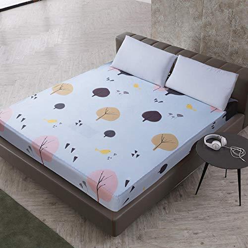 XGguo Protector de colchón de bambú Funda de colchón y Ajustable Sábana de Cama Impresa Funda Protectora cepillada-4_80X200 + 25cm