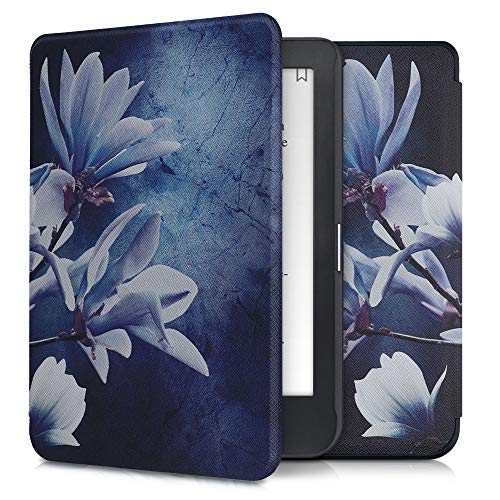 kwmobile Custodia Compatibile con Kobo Clara HD - Cover in Simil Pelle Magnetica Flip Case Custodia per eReader Bianco/Grigio/Blu