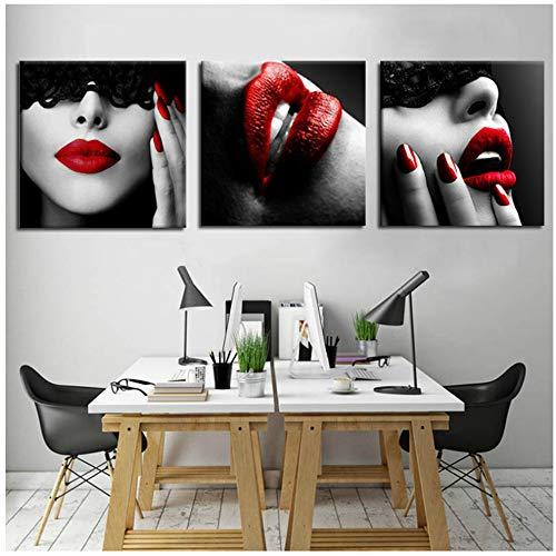 JinYiGlobal Wandkunst Leinwand Malerei Nordic Wandbilder Frau Sexy Red Lips Poster für Wohnzimmer Schlafzimmer Dekor Bild Beauty Art Print-50x50cm Kein Rahmen