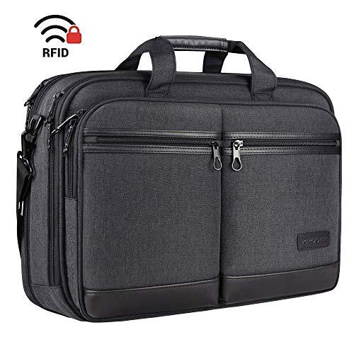 KROSER Laptoptasche Stilvolle Schultertasche Passt bis zu 17,3 Zoll Aktentasche Erweiterbare Wasserdicht Umhängetasche mit RFID-Taschen für Geschäft/Reisen/Schule/Männer/Frauen-Schwarz MEHRWEG