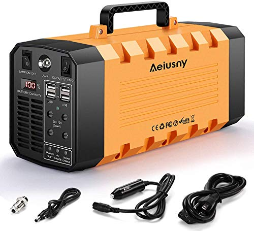 Aeiusny Portable Solar Generator 500W 288WH UPS Power Station Emergency Battery Backup Power Supply Charged by Solar/AC Outlet/Car for CPAP Laptop Home Camping