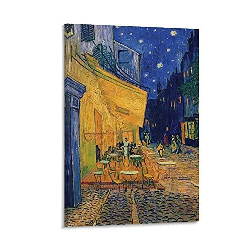 SEMN Vincent Van Gogh Cafe De Nuit Póster Cuadro decorativo Lienzo Arte Pared Sala de Estar Poster Dormitorio Pintura 40x60 cm