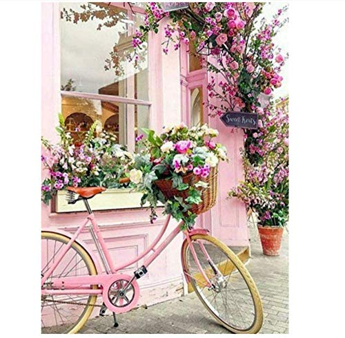 5D Diamond Painting Full Kit Bicycle Landscape DIY Diamond Painting Kits for Kids Adults Wall Decor Stickers Home Decor 40 * 30 cm (16 * 12inch)