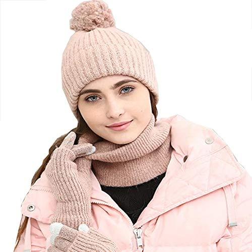 RYDZCLH Winter Warmer Strickschal Mütze und Handschuhe Set Weicher Stretch Mütze Schal und Handschuhe Set 3 in 1 Winter Geschenkset,Rosa