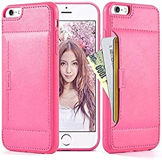 ZVE Wallet Case for Apple iPhone 6s Plus and iPhone 6 Plus, 5.5 inch, Slim Leather Wallet Case with Credit Card Holder Slot Pocket Protective Case Cover for Apple iPhone 6 Plus 6s Plus 5.5 inch-Rose