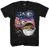 STAR WARS Baby Yoda Starry Night The Mandalorian Men's Adult Graphic Tee T-Shirt (Black, Medium)