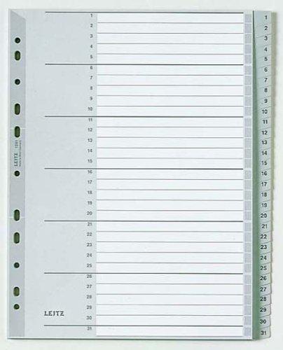 Leitz Register für A4, Deckblatt aus Karton und 31 Trennblätter aus Kunststoff, Taben mit Zahlenaufdruck 1-31, Überbreite, Grau, 12810000