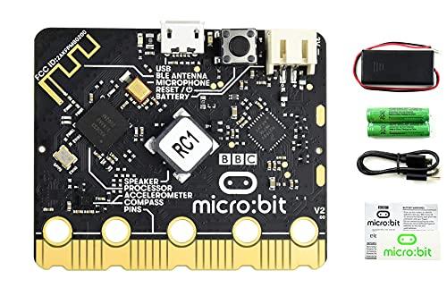 Micro:bit V2 Go Kit, Placa de Desarrollo Arm con Procesador Mejorado, Altavoz y Micrófono Integrados, Incluye Soporte de Batería, etc, para Ayudar los Niños Crear Robots, Juegos Digitales