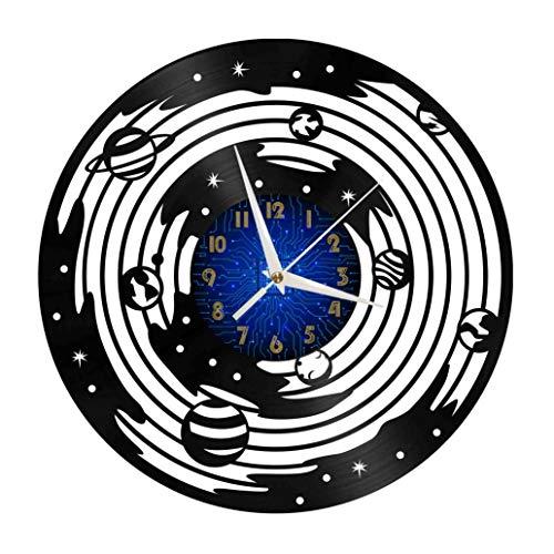 Milky Way Elements - Reloj de pared con disco de vinilo de 12 pulgadas, reloj de pared de vinilo para cocina, hogar, sala de estar, dormitorio, escuela (B), sin reloj de pared LED de 30 cm (12 pulgada