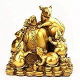 LXHJZ Estatua la Riqueza Feng Shui, Adorno latón, Cinco Ratas, estatuilla la Fortuna, Escultura Regalo, decoración, Que atrae la Riqueza y la Buena Suerte