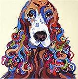 Ksyklys DIY Digital Lienzo Pintura al óleo Regalo para Adultos Niños Pintura por Numero Kits Decoración del Hogar Animal Perro 16 * 20 Pulgadas