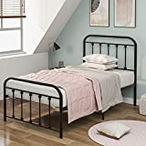 Pannow Cama de metal, cama individual, moderna, plataforma de 3 pies, estilo europeo con cabecera y estribo, color negro