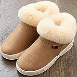 Pantofole Invernali Interno,Pantofole da Mulo Impermeabili da Uomo in PU, Pantofole da Esterno per Interni, Scarpe da casa Chiuse Calde da Donna, Pantofola da Mulo Antiscivolo-Cachi_44-45