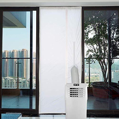 Yinong AirLock mit Reißverschluss zum Anbringen an Balkontüren Fensterabdichtung für mobile Klimageräte, Klimaanlagen, Wäschetrockner, Ablufttrockne (90x210cm)