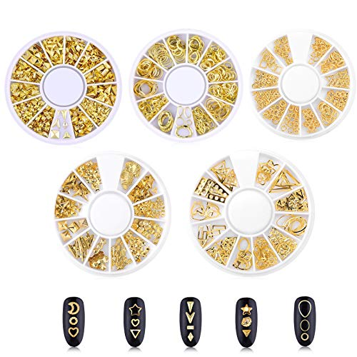 Remebe 1000 PCS Nail Studs 3D Nail Art Charms Accessories 5 Boxes Gold Metal Polygonal Hollow Shaped Love Triangle Gems Nail Art Jewels Decal for Toenails Decorations
