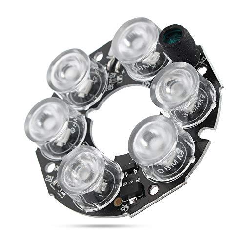 FEIYI Otro módulo de la junta IR LED de Luz de Infrarrojo de la Junta para la Cámara CCTV de Visión Nocturna 30-40M 6*Array LED Blanco 2.5W DC12V