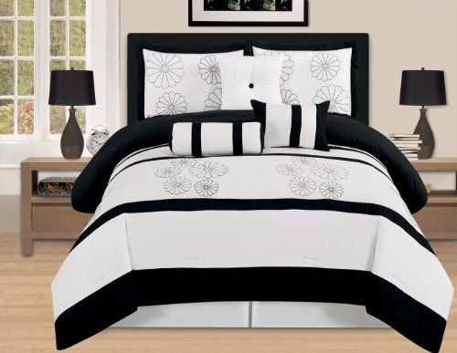 WPM/AHF 7 Pieces Luxury Embroidery Comforter Set Bed-in-a-Bag (Oversize) Bedding (Black&White, King)
