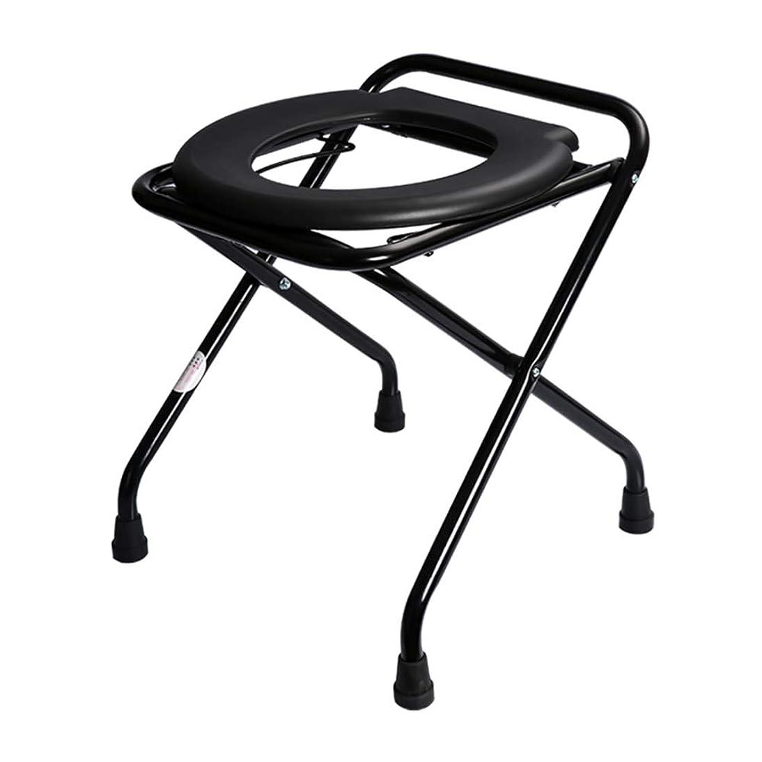 蓋温帯シルエットZAPIP 黒い折り畳み式便器の椅子、移動式便座、高齢者/妊娠中/身体障害者/減量の外科のための浴室の便器の椅子