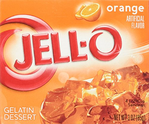 JELL-O Jello Gelatin Dessert 3 Ounce Boxes Pack of 4 (Orange)