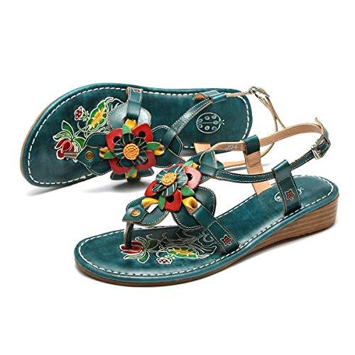 Yuany Vrouwen Sandalen voor de zomer, dames lederen clip teen enkel riem slingeren terug sandalen Slip op lage wig hak Flip Flops Casual post Thong gesp sandalen vintage handgemaakte bloem schoenen