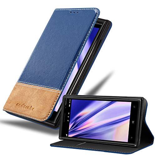 Cadorabo Hülle für Nokia Lumia 930 - Hülle in DUNKEL BLAU BRAUN – Handyhülle mit Standfunktion & Kartenfach aus Einer Kunstlederkombi - Case Cover Schutzhülle Etui Tasche Book