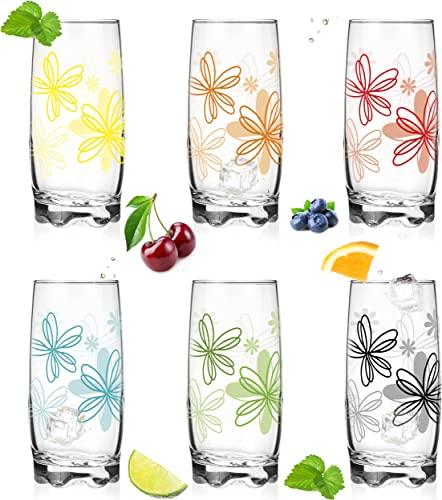 Vasos con diseño de flores, juego de 6 piezas, 350 ml, vasos de agua, zumo con base bonita, vaso grande