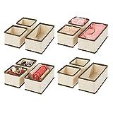 mDesign 12er-Set Aufbewahrungsbox – atmungsaktive Stoffbox für Socken, Unterwäsche, Leggings etc. – vielseitige Schubladen Organizer für Schlaf- und Kinderzimmer – cremefarben/braun