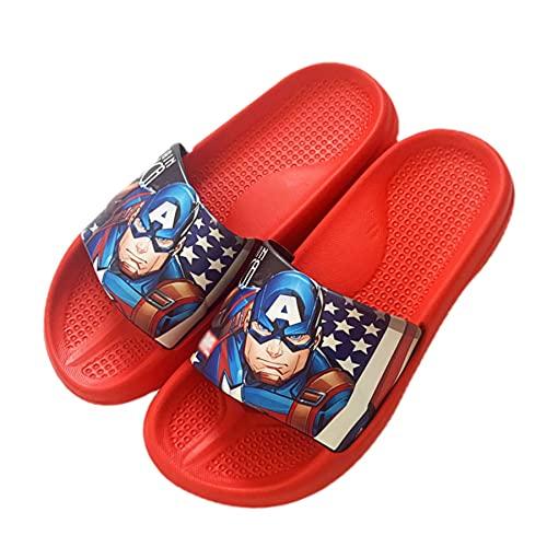 MYYLY Capitán América Chanclas para Niños Playa Cosplay Zapatillas Niña Zapatos Exterior Fondo Suave Verano Junto Piscina Plantilla Vacaciones Sandalias Casuales,Red-180~Internal Length 17.5CM