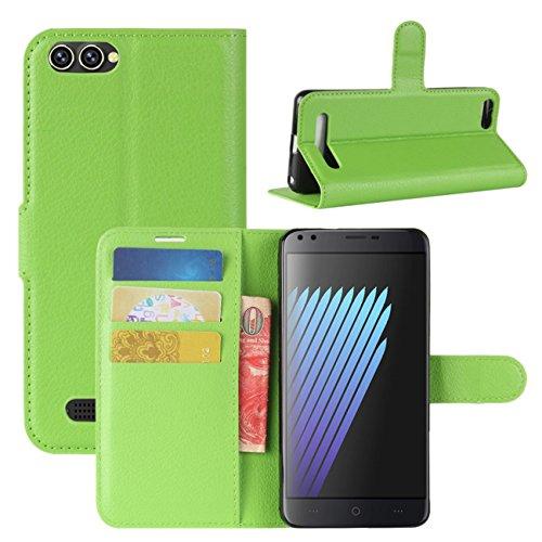 HualuBro Doogee X30 Hülle, Premium PU Leder Leather Wallet Handyhülle Tasche Schutzhülle Hülle Flip Cover mit Karten Slot für Doogee X30 5.5 Inch Smartphone (Grün)