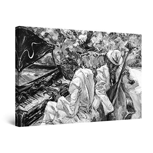 Startonight Cuadro Moderno en Lienzo - Cantantes de Jazz Blanco y Negro - Pintura Abstracta para Salon Decoración Grande 80 x 120 cm