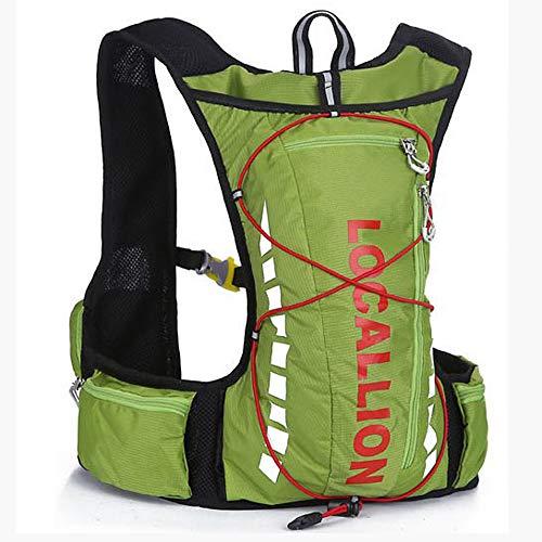 FREEMY Fahrrad-Rucksack, 8 l Fassungsvermögen, für Damen und Herren, für Cross-Country, Laufen, Marathon, Ski, Camping, Green red - Old Style