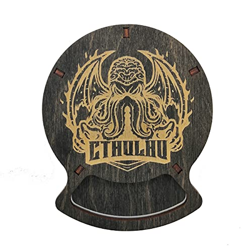 SMONEX Dungeons and Dragons Wood Coasters Set of 5 - Drink Holder Ideal as DND Accessories - Perfect DND Gifts for Dungeon Masters and D&D Fans - Black Cthulhu Coasters