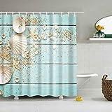 Bazingaaaa - Cortina de ducha con ganchos, diseño de flores en tablones de madera rústica, poliéster, impermeable, de poliéster, 182,88 x 182,88 cm, Unisex adulto, Imagen 57, 72Wx72L